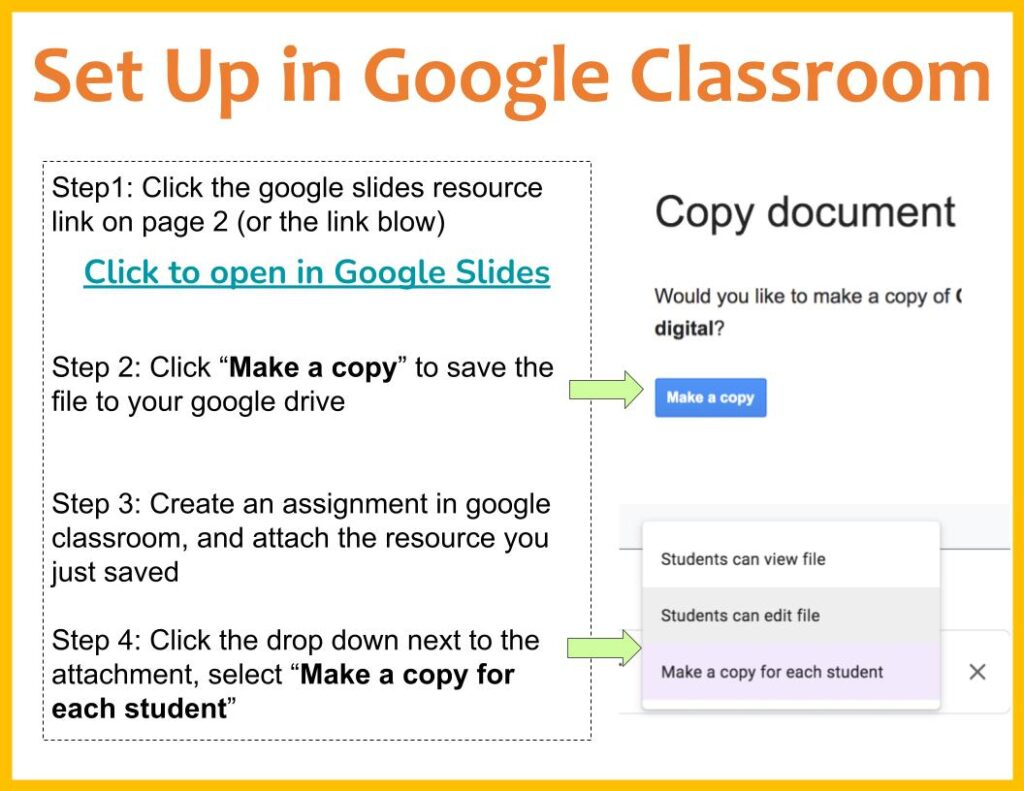 set up the activity in google classroom
