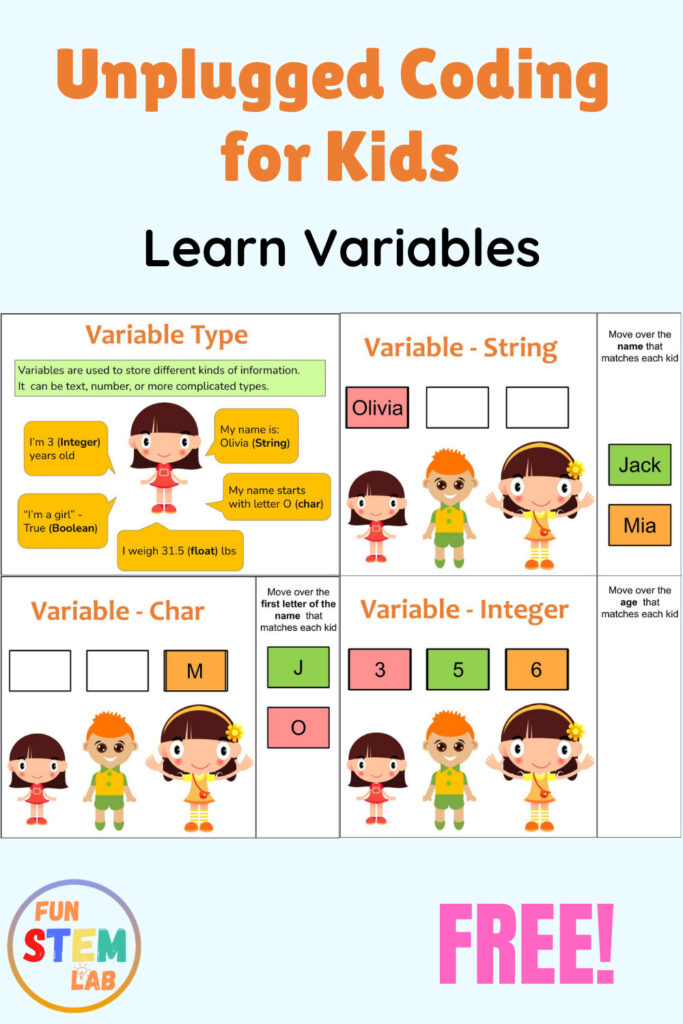 unplugged coding for kids - learn variables
