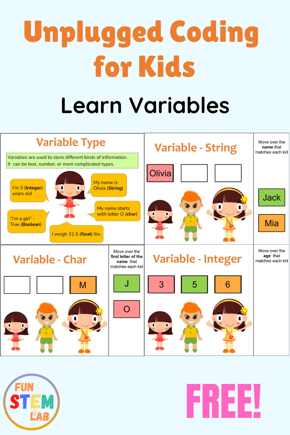 unplugged coding activities for kids - learn variables