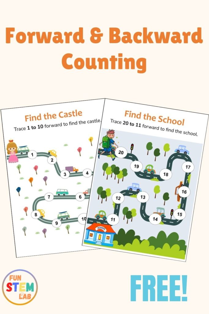 forward and backward counting activities for kids