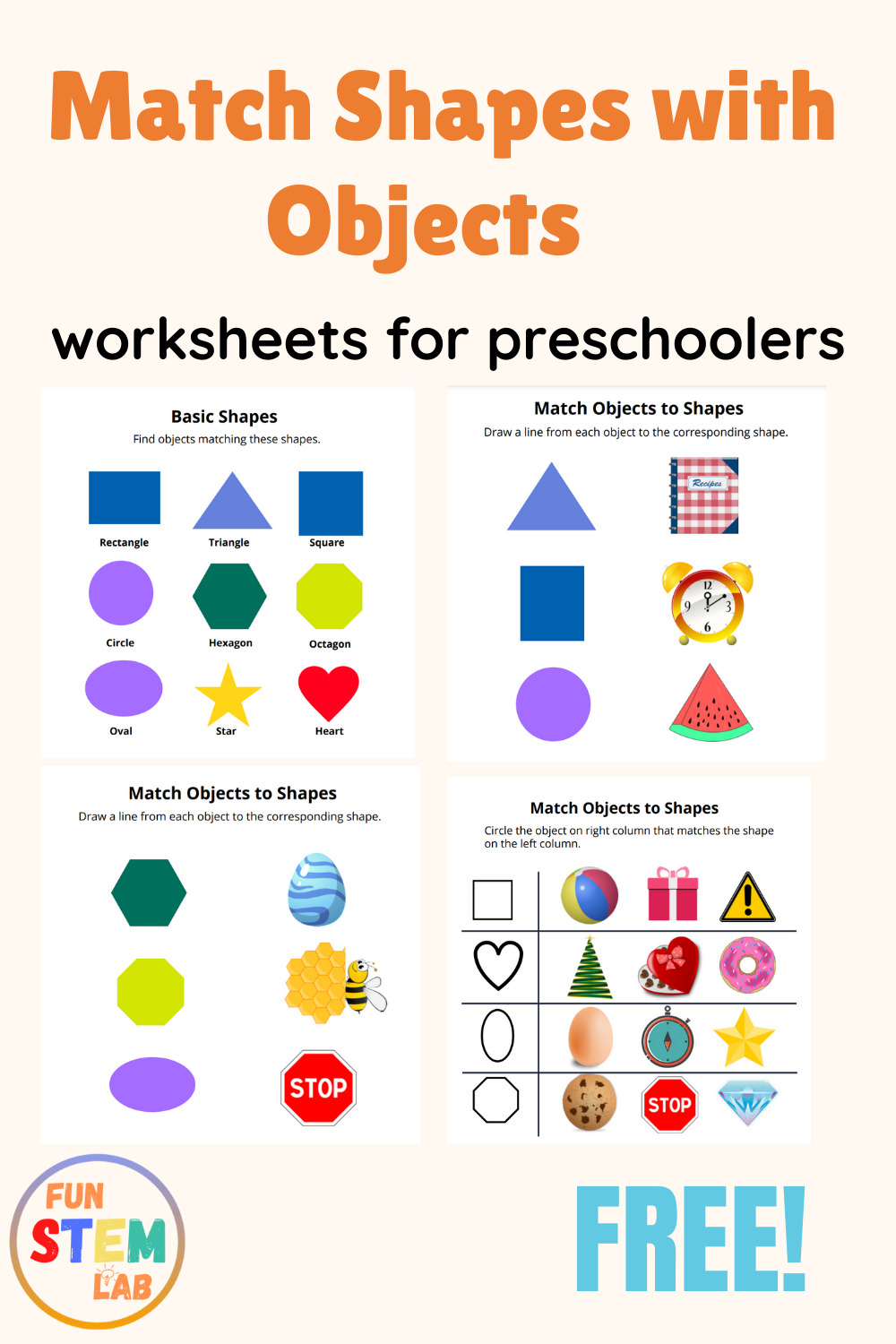 matching shapes with objects worksheets